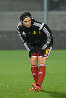 20151130 - LEUVEN ,  BELGIUM : Belgian Cécile De Gernier  pictured during the female soccer game between the Belgian Red Flames and Serbia , the third game in the qualification for the European Championship in The Netherlands 2017  , Monday 30 November 2015 at Stadion Den Dreef  in Leuven , Belgium. PHOTO DIRK VUYLSTEKE