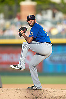 Durham Bulls relief pitcher Ruben Alaniz (16) in action against the Charlotte Knights at BB&T BallPark on July 4, 2018 in Charlotte, North Carolina. The Knights defeated the Bulls 4-2.  (Brian Westerholt/Four Seam Images)
