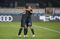 SAN JOSE, CA - OCTOBER 07: Andres Rios #25 of the San Jose Earthquakes celebrates a goal with his teammate Carlos Fiero #21 during a game between Vancouver Whitecaps and San Jose Earthquakes at Eathquakes Stadium on October 07, 2020 in San Jose, California.