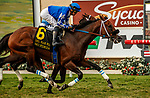 DEL MAR, CA  AUGUST 21: #6 Mo Forza, ridden by Flavien Prat, wins the Del Mar Mile (Grade ll) on August 21, 2021 at Del Mar Thoroughbred Club in Del Mar, CA. (Photo by Casey Phillips/Eclipse Sportswire/CSM)