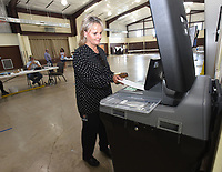 Sheri Trevathan casts her ballot on Tuesday Sept. 14 2021 in the Pea Ridge sales tax election at First Baptist Church in Pea Ridge. Go to nwaonline.com/210915Daily/ to see more photos.<br />(NWA Democrat-Gazette/Flip Putthoff)