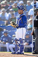 Toronto Blue Jays catcher A.J. Jimenez (6) during a spring training game against the Pittsburgh Pirates on February 28, 2014 at Florida Auto Exchange Stadium in Dunedin, Florida.  Toronto defeated Pittsburgh 4-2.  (Mike Janes/Four Seam Images)