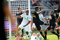 LOS ANGELES, CA - APRIL 17: Mark-Anthony Kaye #14 of LAFC takes a shot during a game between Austin FC and Los Angeles FC at Banc of California Stadium on April 17, 2021 in Los Angeles, California.