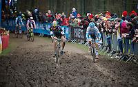 Tom Meeusen (BEL/Telenet-Fidea) dueling it out with Gianni Vermeersch (BEL/Marlux-Napoleon Games)<br /> <br /> 2016 Belgian National CX Championships