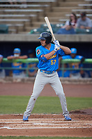 Matt Mervis (57) of the Myrtle Beach Pelicans at bat against the Lynchburg Hillcats at Bank of the James Stadium on May 22, 2021 in Lynchburg, Virginia. (Brian Westerholt/Four Seam Images)