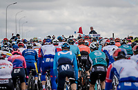race director Scott Sunderland waiting to drop the red flag and start the actual race<br /> <br /> 74th Dwars door Vlaanderen 2019 (1.UWT)<br /> One day race from Roeselare to Waregem (BEL/183km)<br /> <br /> ©kramon