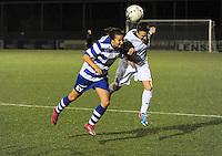 AA Gent dames - Club Brugge dames :<br /> Kopbalduel tussen Christine Saelens (R) en Evy De Smedt (L)<br /> foto Dirk / Nikonpro.be
