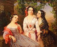 Portrait of Sisters Countess Elizaveta Salias De Tournemire, Sophia Sukhovo-Kobylina and Eudokia Petrovo-Solovovo, 1847. <br /> Artist: Orlov, Pimen Nikitich (1812-1863)