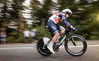 Toms Skujins (LVA/Trek-Segafredo) on the steep parts of the individual time trial up the infamous Planche des Belles Filles<br /> <br /> Stage 20 (ITT) from Lure to La Planche des Belles Filles (36.2km)<br /> <br /> 107th Tour de France 2020 (2.UWT)<br /> (the 'postponed edition' held in september)<br /> <br /> ©kramon