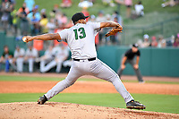 Southern Divisions pitcher Joey Marciano (13) of the Augusta GreenJackets delivers a pitch during the South Atlantic League All Star Game at First National Bank Field on June 19, 2018 in Greensboro, North Carolina. The game Southern Division defeated the Northern Division 9-5. (Tony Farlow/Four Seam Images)