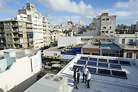 URUGUAY  Montevideo Solar panel on rooftop of Bayer office building / URUGUAY Montevideo Solarpanel auf dem Bayer Buerogebaeude -