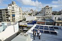 URUGUAY  Montevideo Solar panel on rooftop of Bayer office building / URUGUAY Montevideo Solarpanel auf dem Bayer Buerogebaeude -