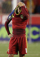Javier Morales #11 of Real Salt Lake barries his head in his shirt after he lost  to D.C. United at the U.S. Open Cup Final on October  1, 2013 at Rio Tinto Stadium in Sandy, Utah. DC United beat Real Salt Lake 1-0 to win the championship.