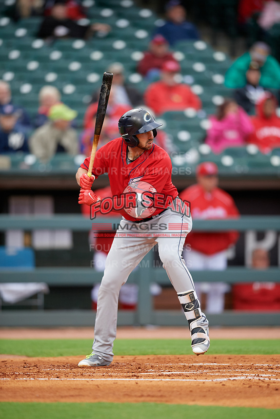 Columbus Clippers designated hitter Chris Colabello (23) bats during a game against the Louisville Bats on May 1, 2017 at Louisville Slugger Field in Louisville, Kentucky.  Columbus defeated Louisville 6-1  (Mike Janes/Four Seam Images)