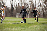 LOUISVILLE, KY - MARCH 13: Yuki Nagasato #17 of Racing Louisville FC dribbles the ball down field during a game between West Virginia University and Racing Louisville FC at Thurman Hutchins Park on March 13, 2021 in Louisville, Kentucky.