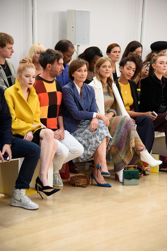 Ellie Bamber, Dame Kristin Scott Thomas and Charity Wakefield<br /> front row at the Jasper Conran London Fashion Week SS18 catwalk show, London<br /> <br /> ©Ash Knotek  D3431  15/09/2018