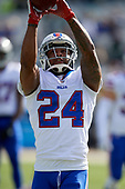 Buffalo Bills Leonard Johnson (24) during warmups before an NFL Wild-Card football game against the Jacksonville Jaguars, Sunday, January 7, 2018, in Jacksonville, Fla.  (Mike Janes Photography)