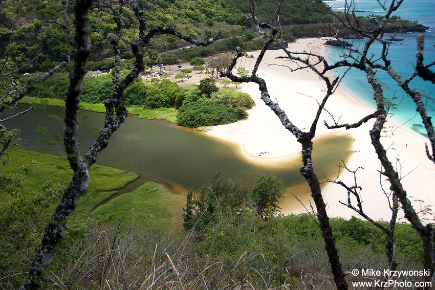 Aerial view of Waimea River, North Shore, Oahu