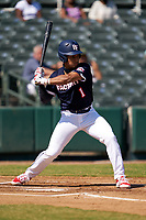Harry Ford (1) bats during the Baseball Factory All-Star Classic at Dr. Pepper Ballpark on October 4, 2020 in Frisco, Texas.  Harry Ford (1), a resident of Kennesaw, Georgia, attends North Cobb High School.  (Ken Murphy/Four Seam Images)