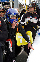 Rolex 24 at Daytona, Daytona International Speedway 5/6 Feb, 2005.P.L.N. (helmet) waits to take over the car from co-driver Sebastien Bourdais during Friday's final practice session..Copyright©F.Peirce Williams 2005