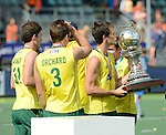 The Hague, Netherlands, June 15: Matt Gohdes #16 of Australia kisses the World Cup Trophy after the prize giving ceremony on June 15, 2014 during the World Cup 2014 at Kyocera Stadium in The Hague, Netherlands. (Photo by Dirk Markgraf / www.265-images.com) *** Local caption ***