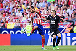 Diego Costa of Atletico de Madrid (L) fights for the ball with Ruben Pena Jimenez of SD Eibar (R) during the La Liga match between Atletico Madrid and Eibar at Wanda Metropolitano Stadium on May 20, 2018 in Madrid, Spain. Photo by Diego Souto / Power Sport Images