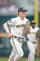 Michigan Wolverines shortstop Jack Blomgren (2) in action against the Vanderbilt Commodores during Game 2 of the NCAA College World Series Finals on June 25, 2019 at TD Ameritrade Park in Omaha, Nebraska. Vanderbilt defeated Michigan 4-1. (Andrew Woolley/Four Seam Images)