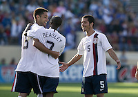 Clint Dempsey, DaMarcus Beasley, and Benny Feilhaber celebrate. The USA defeated China, 4-1, in an international friendly at Spartan Stadium, San Jose, CA on June 2, 2007.