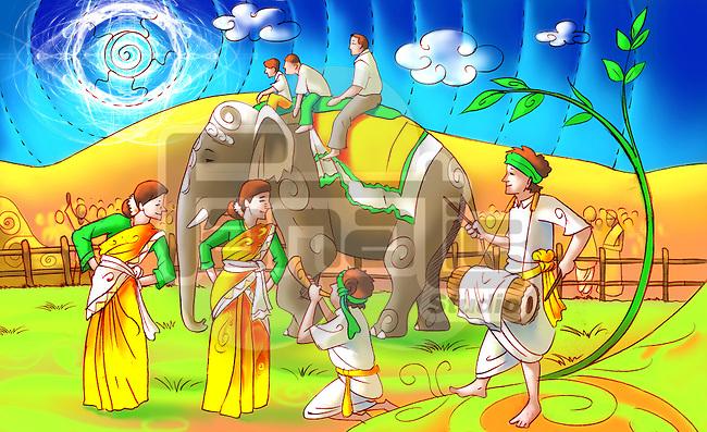 People celebrating Bihu festival