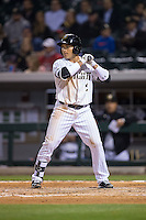 Carlos Sanchez (2) of the Charlotte Knights at bat against the Durham Bulls at BB&T BallPark on April 14, 2016 in Charlotte, North Carolina.  The Bulls defeated the Knights 2-0.  (Brian Westerholt/Four Seam Images)