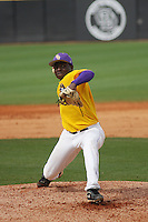 East Carolina University Pirates pitcher Jharel Cotton #39 pitching during a game against the Stony Brook Seawolves at Clark-LeClair Stadium on March 4, 2012 in Greenville, NC.  East Carolina defeated Stony Brook 4-3. (Robert Gurganus/Four Seam Images)