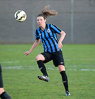20150428 - VARSENARE , BELGIUM : Brugge's Nicky Van Den Abbeele pictured during the soccer match between the women teams of Club Brugge Vrouwen and Standard de Liege Femina , on the 24th matchday of the BeNeleague competition Tuesday 28 th April 2015 in Varsenare . PHOTO DAVID CATRY