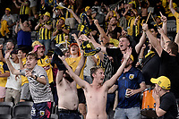 6th April 2021; Bankwest Stadium, Parramatta, New South Wales, Australia, Australian A League football, Western Sydney Wanderers versus Central Coast Mariners; Mariners fans celebrate the opening goal of the game from Matt Simon in the 22nd minute