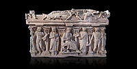"Side panel of a Roman relief sculpted sarcophagus with kline couch lid, ""Columned Sarcophagi of Asia Minor"" style typical of Sidamara, 3rd Century AD, Konya Archaeological Museum, Turkey. Against a black background"