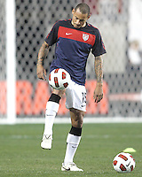 Jermaine Jones #15 of the USA MNT warms up during an international friendly match against Colombia at PPL Park, on October 12 2010 in Chester, PA. The game ended in a 0-0 tie.