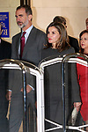 King Felipe VI of Spain and Queen Letizia of Spain attend a meeting at the National Library. November 24, 2017. (ALTERPHOTOS/Acero)