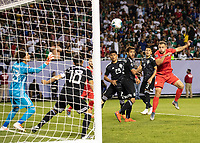 CHICAGO, IL - JULY 7: Jordan Morris #11 heads the ball towards the goal during a game between Mexico and USMNT at Soldier Field on July 7, 2019 in Chicago, Illinois.
