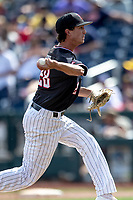 Texas Tech Red Raiders pitcher Taylor Floyd (28) delivers a pitch to the plate during Game 1 of the NCAA College World Series against the Michigan Wolverines on June 15, 2019 at TD Ameritrade Park in Omaha, Nebraska. Michigan defeated Texas Tech 5-3. (Andrew Woolley/Four Seam Images)