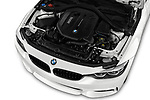 Car stock 2019 BMW 4 series M Sport 2 Door Coupe engine high angle detail view