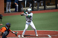 Austin Knight (14) of the Charlotte 49ers at bat against the UTSA Roadrunners at Hayes Stadium on April 18, 2021 in Charlotte, North Carolina. (Brian Westerholt/Four Seam Images)
