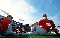 Paul Konerko of the Cincinnati Reds participates in a Major League Baseball game at Dodger Stadium during the 1998 season in Los Angeles, California. (Larry Goren/Four Seam Images)