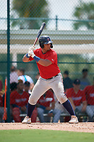 GCL Twins Victor Heredia (19) at bat during a Gulf Coast League game against the GCL Pirates on August 6, 2019 at Pirate City in Bradenton, Florida.  GCL Twins defeated the GCL Pirates 4-2 in the first game of a doubleheader.  (Mike Janes/Four Seam Images)