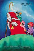 Interlitho, Soledad, CHRISTMAS CHILDREN, naive, paintings, santa, bag, 2 kids(KL2291,#XK#) Weihnachten, Navidad, illustrations, pinturas