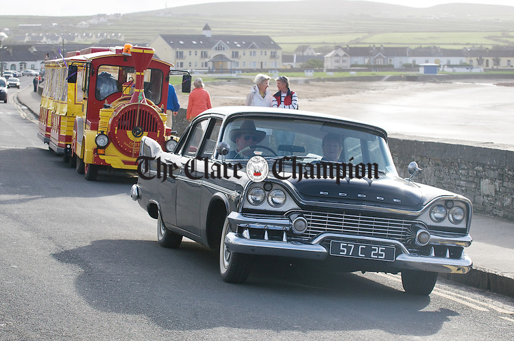 Bill Ryan of Cork with his vintage 1957 Dodge Kingsway at the official opening of the Che do Bheatha festival at Kilkee. Photograph by John Kelly.