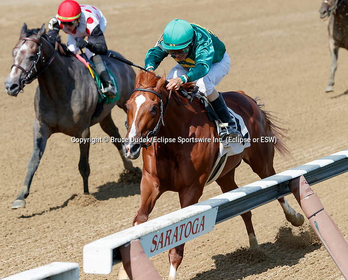 Code of Honor (no. 2) wins Race 6, Aug. 18, 2018 at the Saratoga Race Course, Saratoga Springs, NY.  Ridden by  John Velaszquez, and trained by Claude McGaughey III,  Code of Honor finished 1 1/2 lengths in front of Wild Medagliad'oro (no. 5).  (Bruce Dudek/Eclipse Sportswire)