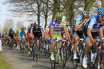 The peloton including Heinrich Haussler (GER) Garmin-Barracuda, Tom Boonen (BEL) Omega Pharma-Quickstep and Peter Sagan (SVK) Liquigas-Cannondale approach the start of the Oude Kwaremont climb during the 96th edition of The Tour of Flanders 2012, running 256.9km from Bruges to Oudenaarde, Belgium. 1st April 2012. <br /> (Photo by Eoin Clarke/NEWSFILE).