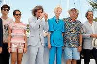 """CANNES, FRANCE - JULY 13: French-Us actor Timothee Chalamet, French-Algerian actress Lyna Khoudri, Us director Wes Anderson, British actress Tilda Swinton, Us actor Bill Murray, Us actor Benicio Del Toro and French music composer Alexandre Desplat  at photocall for the film """"The French Dispatch"""" at the 74th annual Cannes Film Festival in Cannes, France on July 13, 2021 <br /> CAP/GOL<br /> ©GOL/Capital Pictures"""