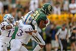 Baylor Bears wide receiver Josh Fleeks (21)and Kansas Jayhawks cornerback Hasan Defense (13) in action during the game between the Kansas Jayhawks and the Baylor Bears at the McLane Stadium in Waco, Texas.