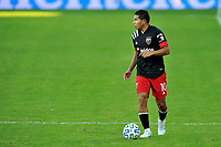 WASHINGTON, DC - NOVEMBER 8: Edison Flores #10 of D.C. United moves the ball during a game between Montreal Impact and D.C. United at Audi Field on November 8, 2020 in Washington, DC.