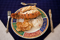 Cuba, Trinidad.  Lobster Lunch. with Rice and Plaintain Chips.